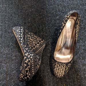 Gold and Black lace pattern wedges